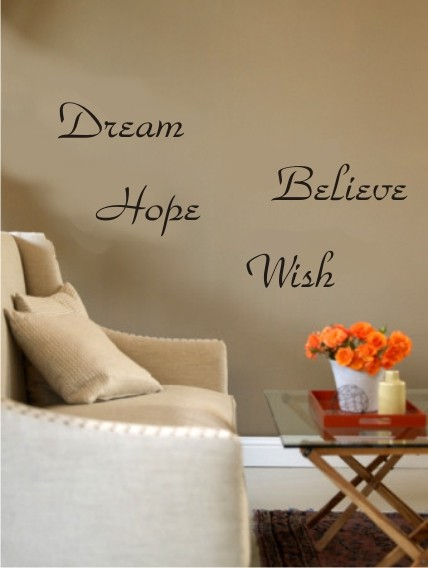 Dream, Believe, Hope, Wish - sisustustarrat